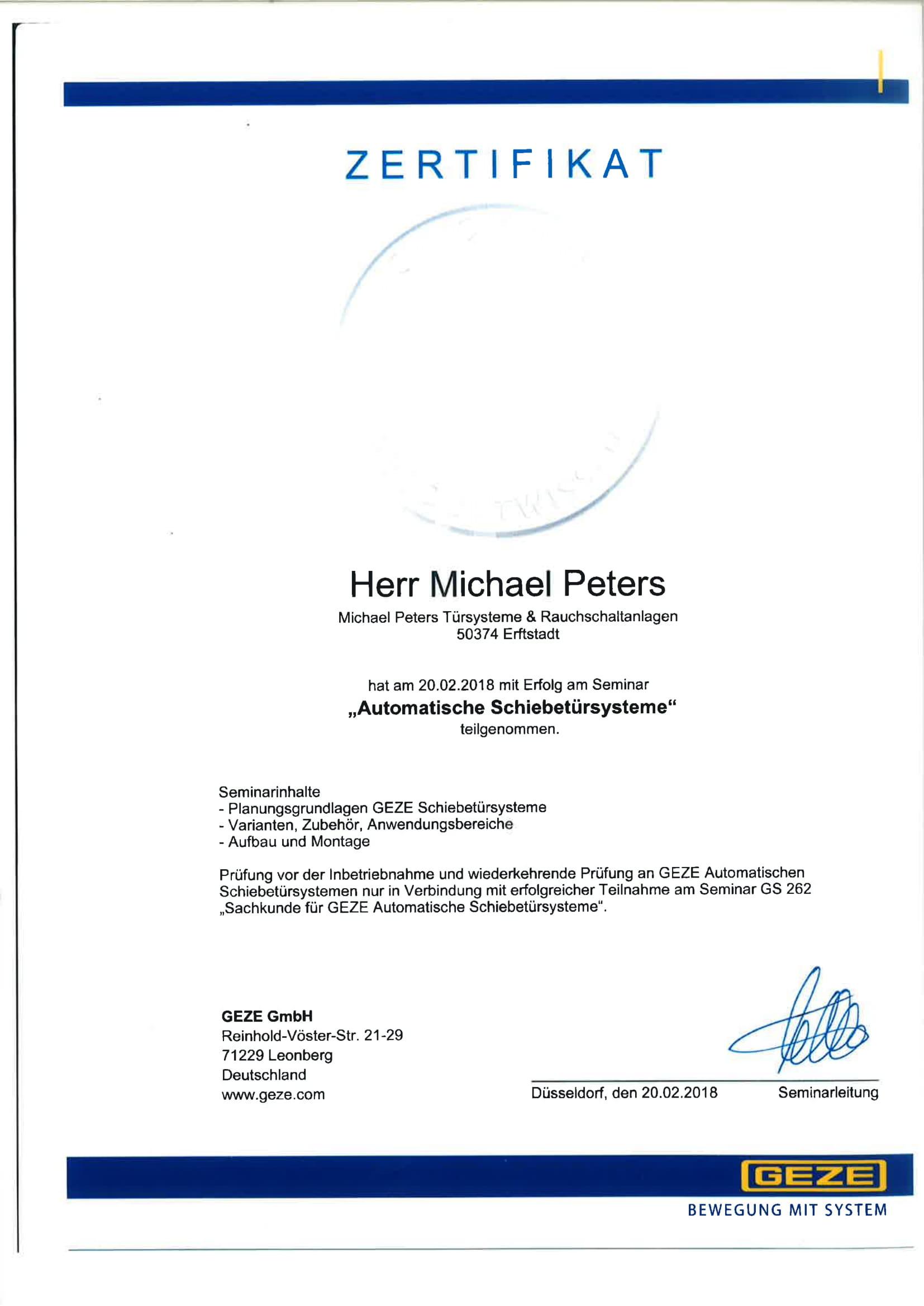 Zertifikat Geze Automatische Schiebetuersysteme