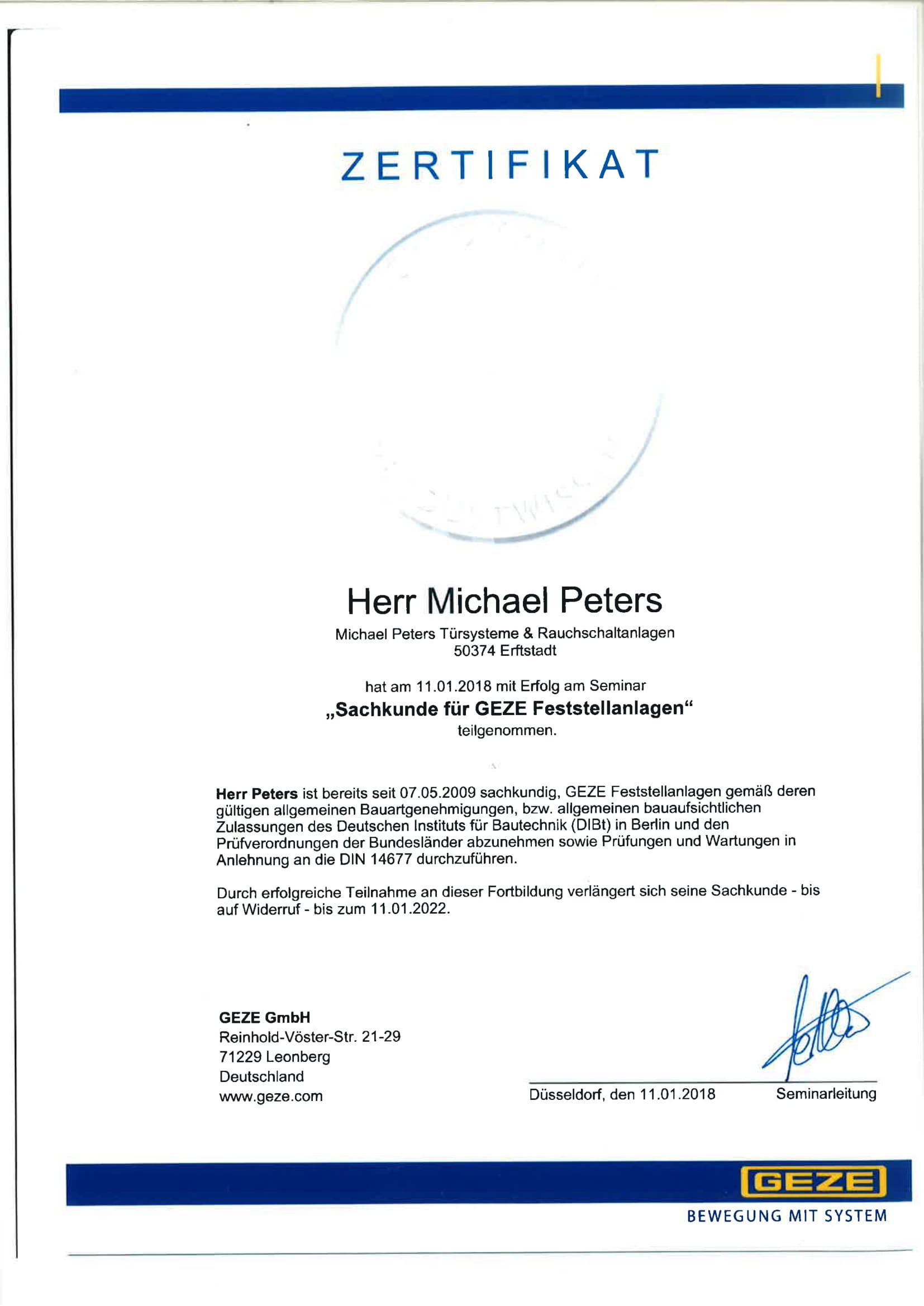 Zertifikat Geze Feststellanlagen