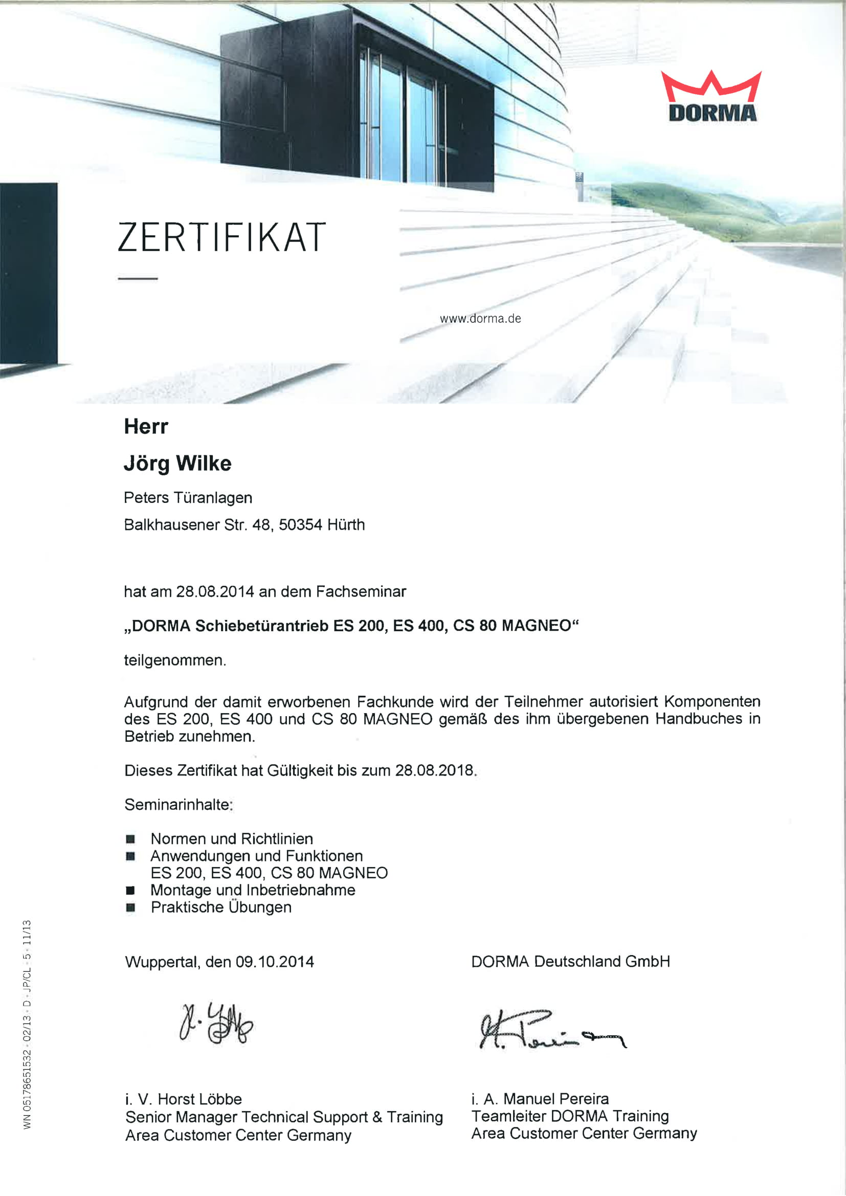 Zertifikat DORMA Schiebetürantrieb ES 200, ES 400, CS 80 MAGNEO