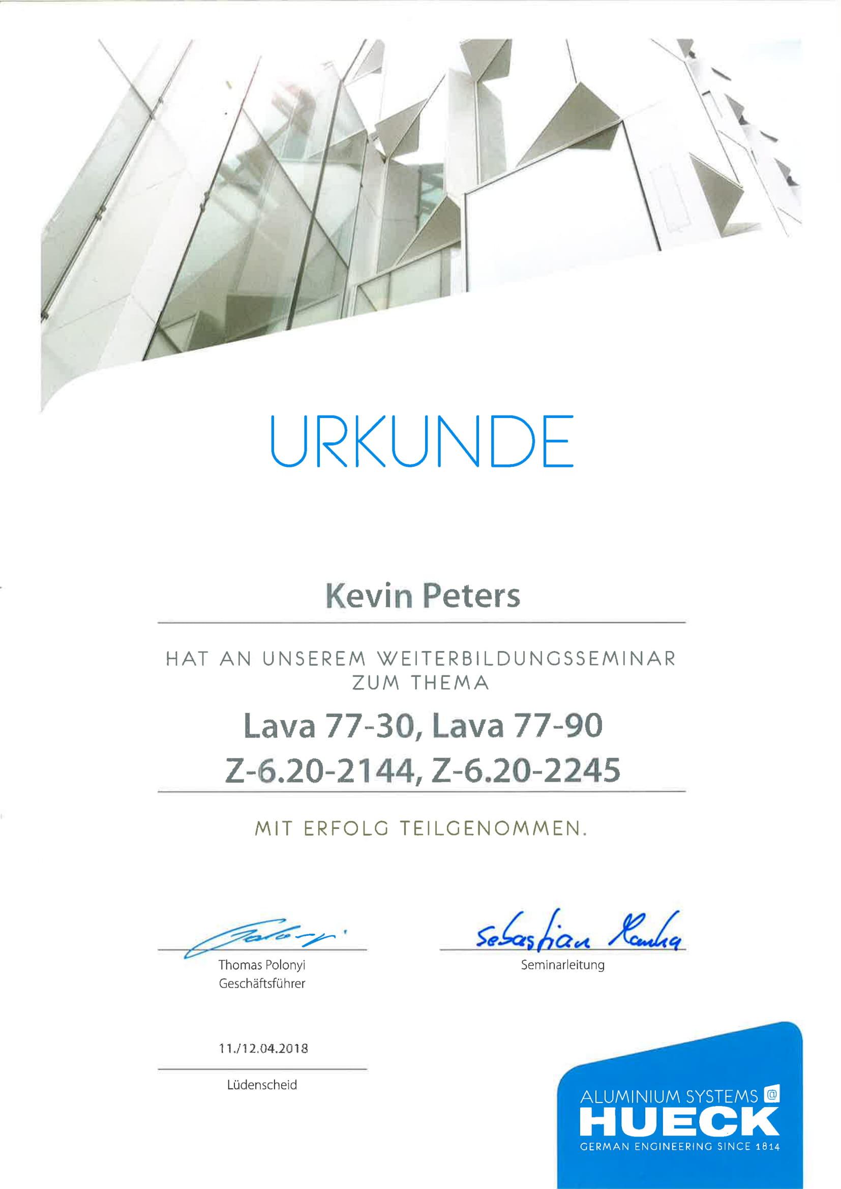 Urkunde Aluminium Systems HUECK