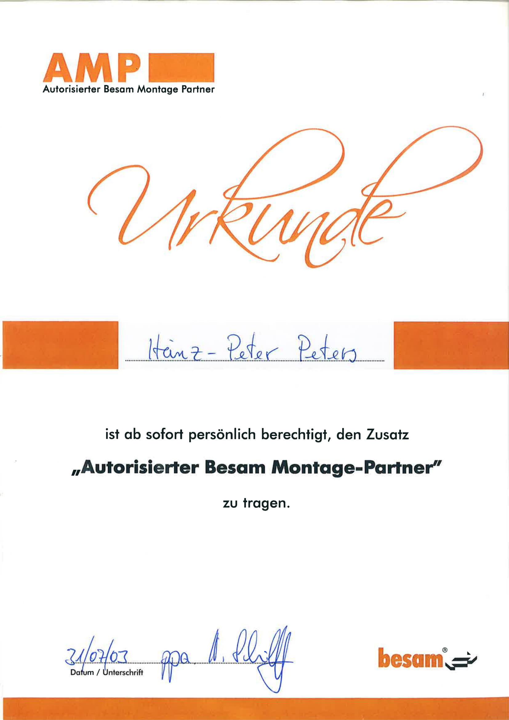 Urkunde Autorisierter Besam Montage-Partner